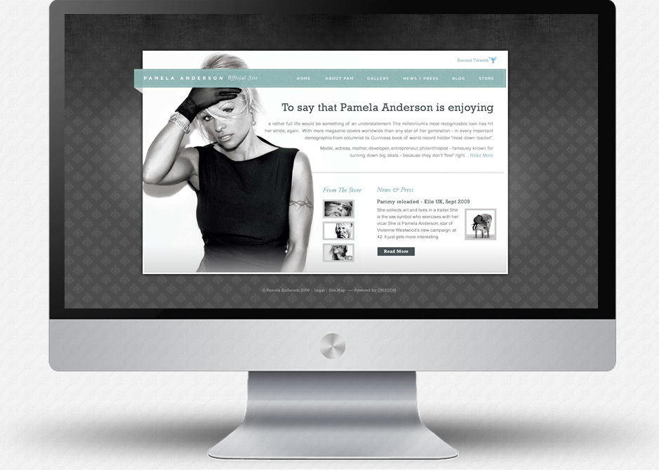 Pamela Anderson Website: Home Page