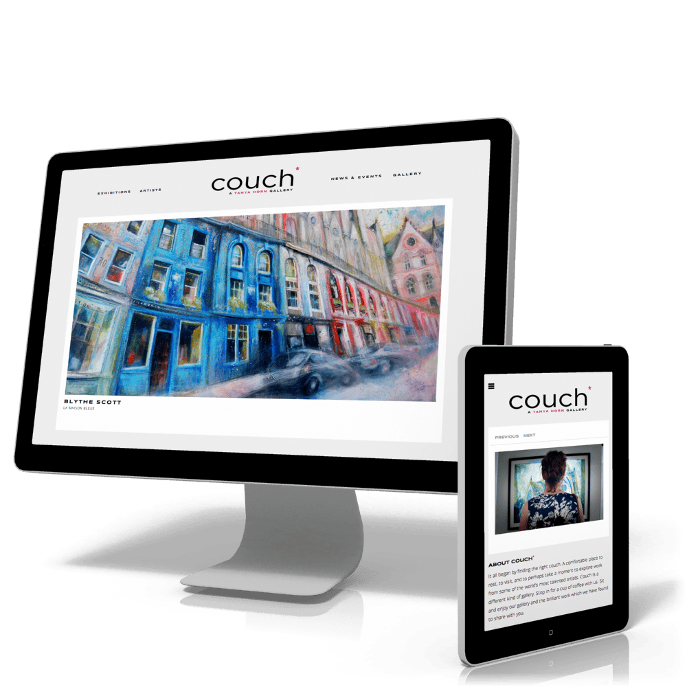 couch* home page interface and responsive design
